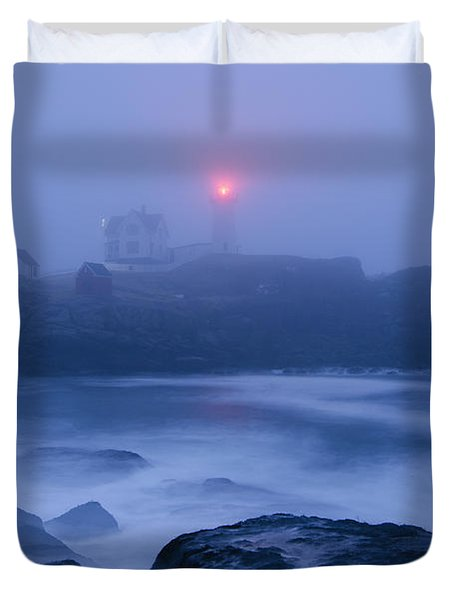 Nubble Light In Foggy Dawn Duvet Cover