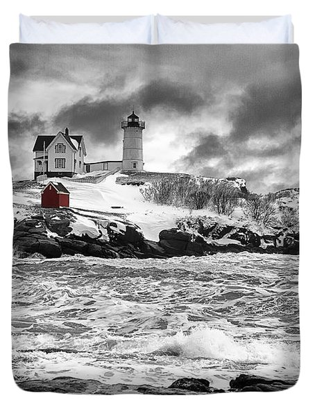 Nubble Lighthouse After The Storm Duvet Cover