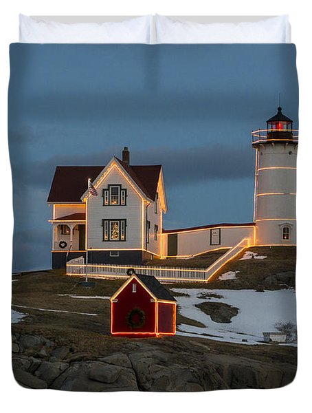 Nubble Lighthouse At Christmas Duvet Cover