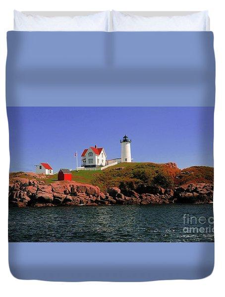Nubble Lighthouse-cape Neddick Duvet Cover by Kathleen Struckle