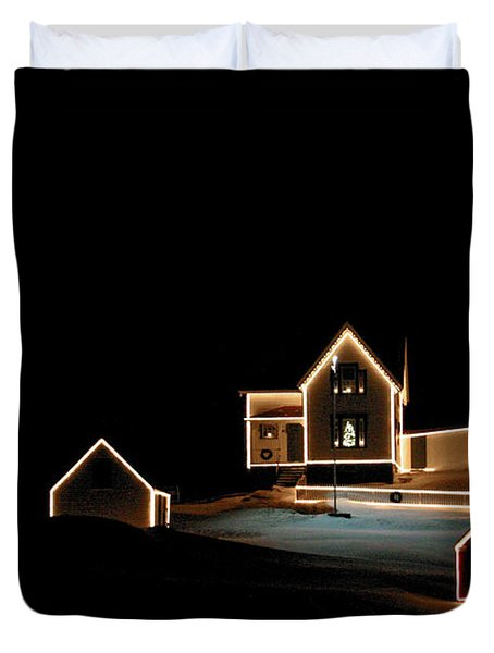 Nubble Lighthouse Christmas Lights Duvet Cover
