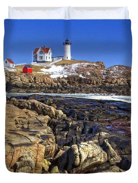 Nubble Lighthouse Duvet Cover by Joann Vitali