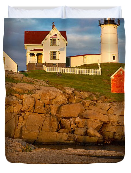 Duvet Cover featuring the photograph Nubble Lighthouse No 1 by Jerry Fornarotto