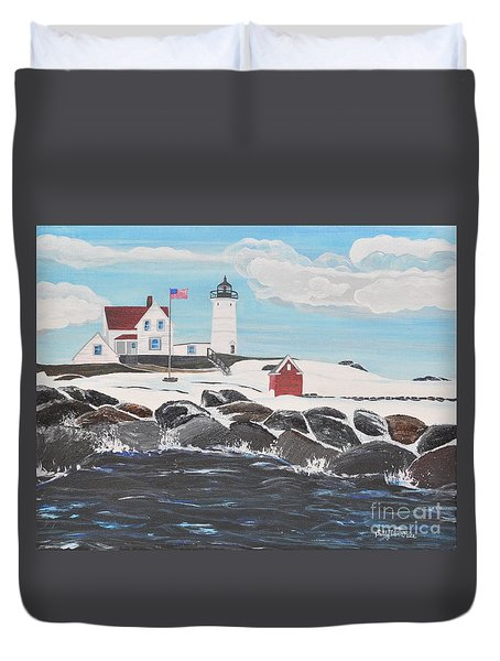 Nubble Lighthouse Duvet Cover by Sally Rice