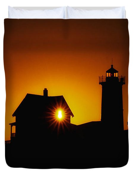 Nubble Lighthouse Sunrise Starburst Duvet Cover by Scott Thorp