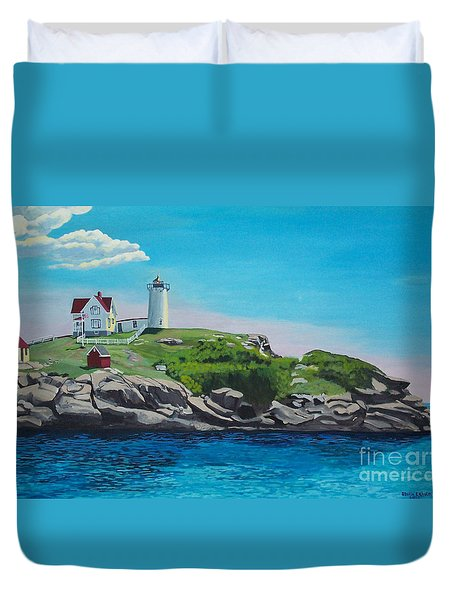 Nubble Lighthouse Sunrise Duvet Cover