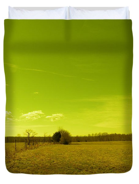 Duvet Cover featuring the photograph Nuclear Fencerow by Nick Kirby