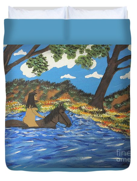 Duvet Cover featuring the painting Nude And Bareback Swim by Jeffrey Koss