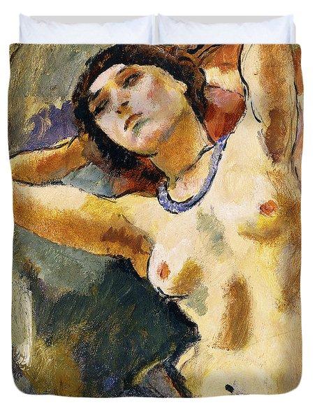 Nude Brunette With Blue Necklace Nu La Brune Au Collier Bleu Duvet Cover