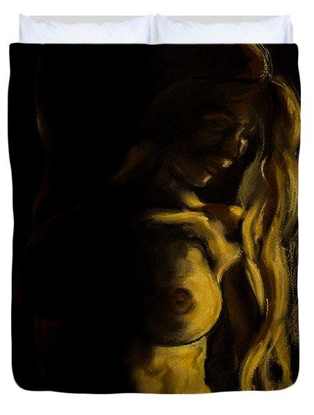 Nude - Chiaroscuro Duvet Cover by Dorina  Costras