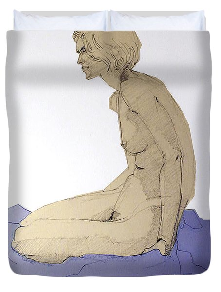 Duvet Cover featuring the drawing Nude Figure In Blue by Greta Corens