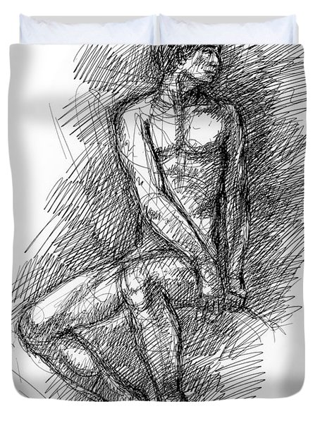 Nude Male Sketches 1 Duvet Cover