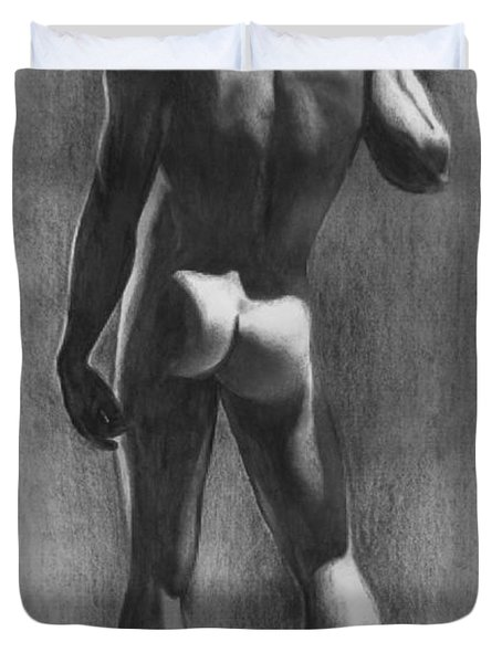 Nude Man In Contemplation Drawing Duvet Cover by Karon Melillo DeVega