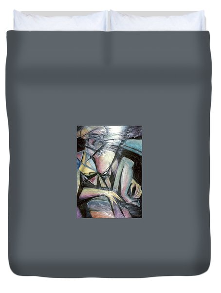 Nude Model In Studio Duvet Cover by Carrie Maurer