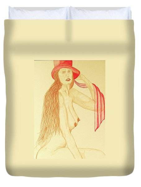 Nude With Red Hat Duvet Cover by Rand Swift