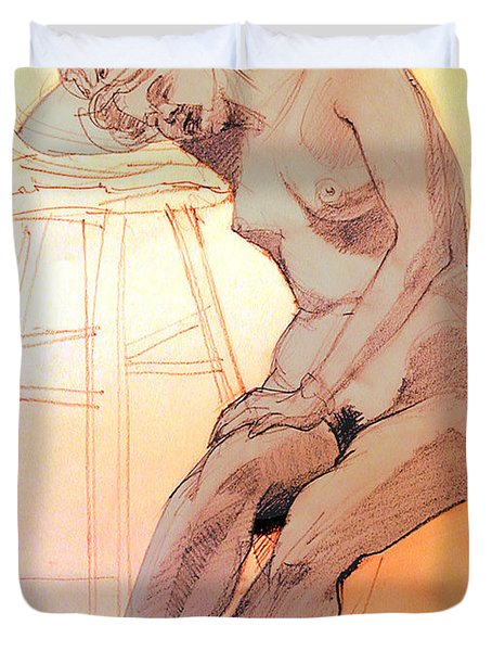 Duvet Cover featuring the drawing Nude Woman Leaning On A Barstool by Greta Corens