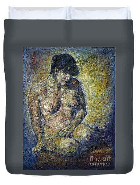 Sad - Nude Woman Duvet Cover
