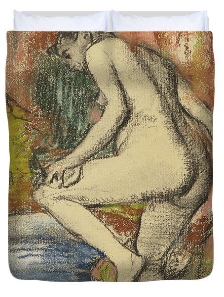 Nude Woman Wiping Herself After The Bath Duvet Cover