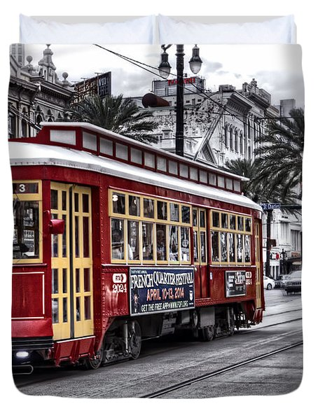 Duvet Cover featuring the photograph Number 2024 Trolley by Tammy Wetzel