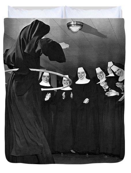 Nun Swivels Hula Hoop On Hips Duvet Cover