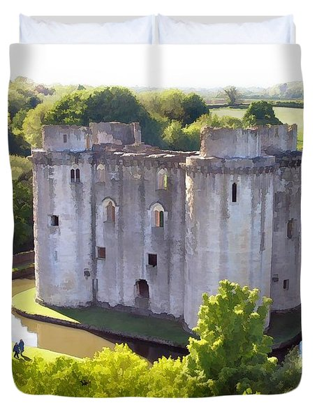 Nunney Castle Painting Duvet Cover by Ron Harpham