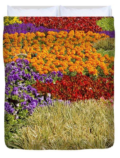 Duvet Cover featuring the photograph Nursery Potted Garden Plants Arrangement by JPLDesigns