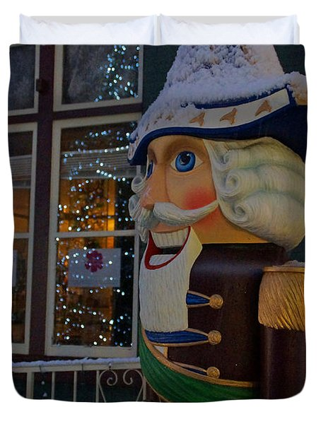 Nutcracker Statue In Downtown Grants Pass Duvet Cover by Mick Anderson