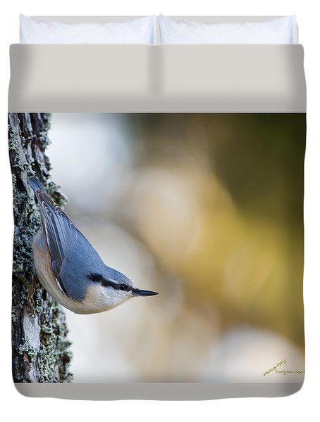 Nuthatch In The Classical Position Duvet Cover