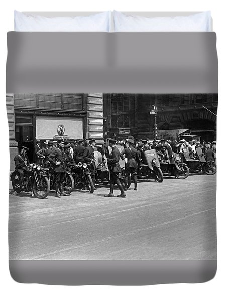 Ny Armored Motorcycle Squad  Duvet Cover by Underwood Archives
