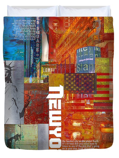 Ny City Collage 3 Duvet Cover by Corporate Art Task Force