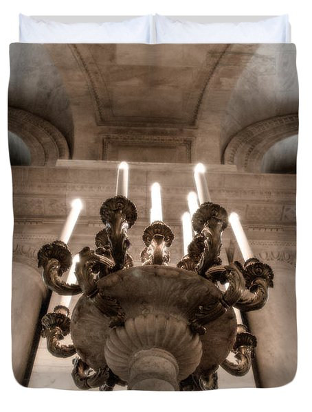 Duvet Cover featuring the photograph Ny Public Library Candelabra by Angela DeFrias