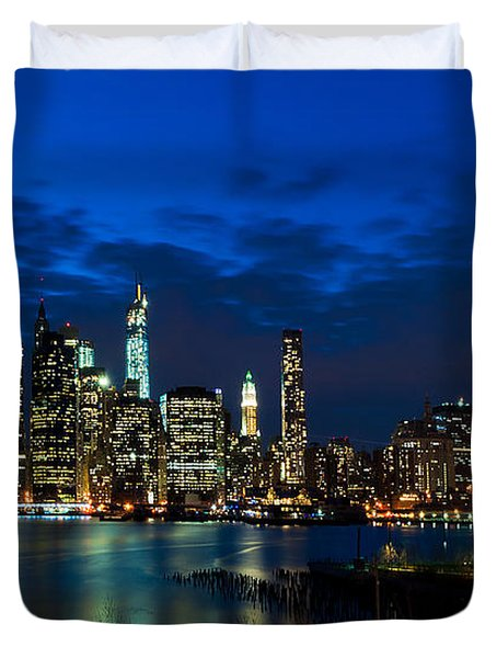 Ny Skyline From Brooklyn Heights Promenade Duvet Cover by Mitchell R Grosky