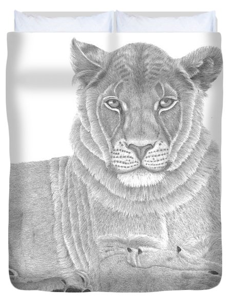 Nyah The Lioness Duvet Cover by Patricia Hiltz