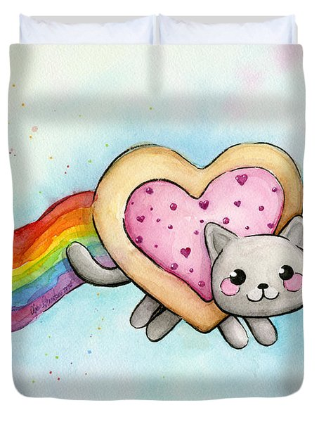 Nyan Cat Valentine Heart Duvet Cover