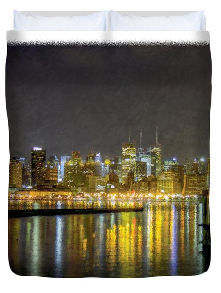 Nyc At Night Faux Oil Duvet Cover