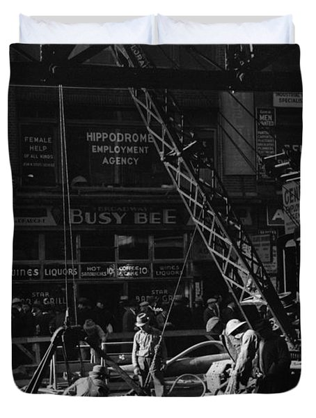 Nyc Construction, 1937 Duvet Cover
