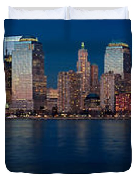 Nyc Pano Duvet Cover by Jerry Fornarotto