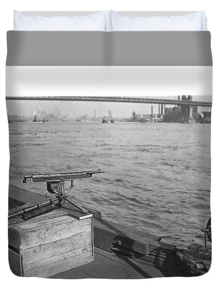 Nyc Prohibition Police Boat Duvet Cover by Underwood Archives