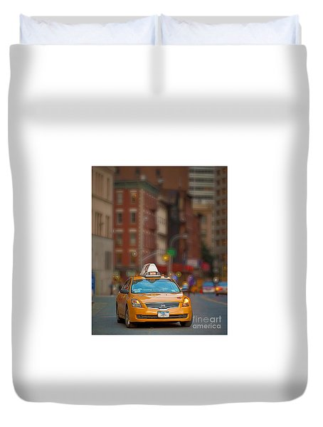 Duvet Cover featuring the digital art Taxi by Jerry Fornarotto