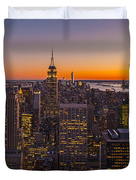 Nyc Top Of The Rock Sunset Duvet Cover