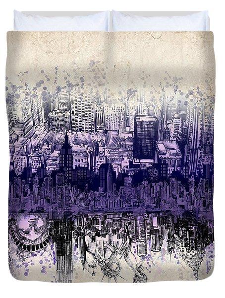 Nyc Tribute Skyline 2 Duvet Cover