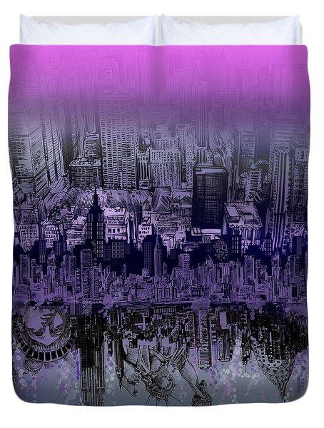 Nyc Tribute Skyline Duvet Cover
