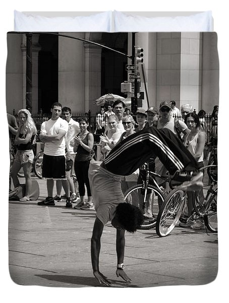 Duvet Cover featuring the photograph Nycity Street Performer by Angela DeFrias