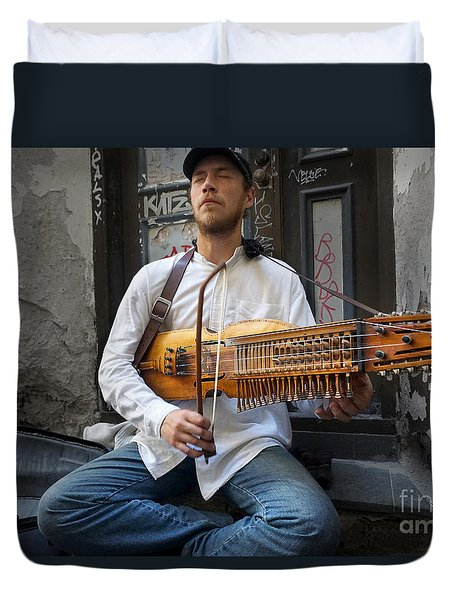 Nyckelharpa Player Of Estonia Duvet Cover by Martin Konopacki