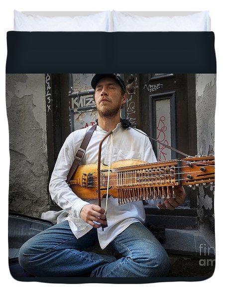Nyckelharpa Player Of Estonia Duvet Cover