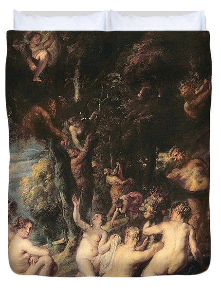 Nymphs And Satyrs, C.1635 Oil On Canvas Duvet Cover