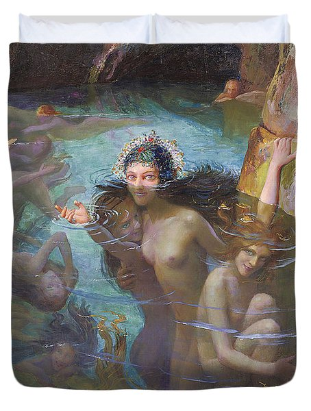 Nymphs At A Grotto Duvet Cover by Gaston Bussiere