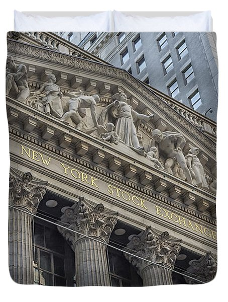 Nyse  New York Stock Exchange Wall Street Duvet Cover by Susan Candelario