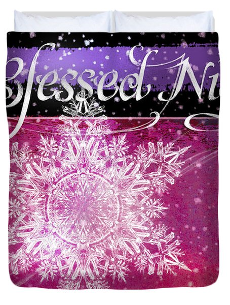 O Blessed Night Greeting Duvet Cover