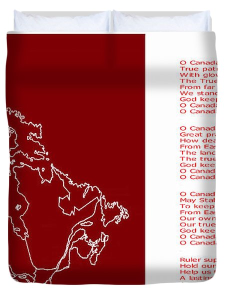 O Canada Lyrics And Map Duvet Cover